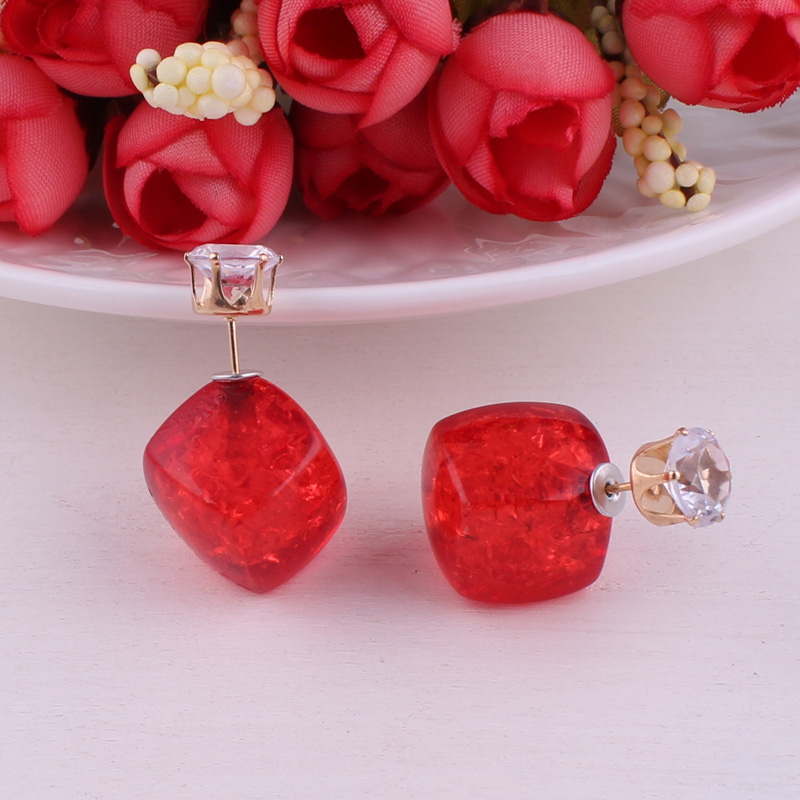Tenande Maxi Double Sides Pearl Earrings Square Crown Head Crystal Crack Stud Earrings for Women Night Club Statement Pattern