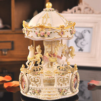 Colorful lights Continental carved carousel Double track rotating lift horse music box