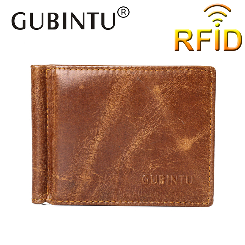 RFID Blocking Bifold Money Clip Leather Genuine Wallet Men Solid Brown Color id card Luxury Brand money clip wallet male wallets men genuine leather wallet 2016 dollar price luxury famous designer high quality money clip men wallet