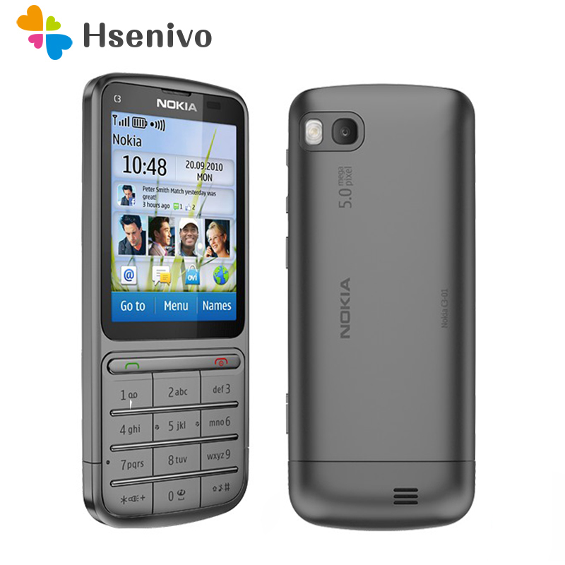 C3-01 Original Unlocked Nokia C3-01 mobile phone 2.4'Inch 5MP Camera 1050mAh WIFI Bluetooth Single Core Cellphone Free shipping