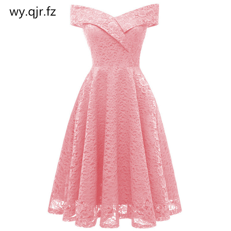 HYFZ9972F#Boat neck Pink Short Lace   Bridesmaid     Dresses   wedding party   dress   gown prom cheap wholesale Bride Wedding Toast girl