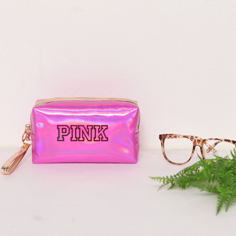 UOSC Fashion Waterproof Laser Cosmetic Bags Women Neceser Make Up Bag PVC Pouch Wash Toiletry Bags Travel Organizer Case