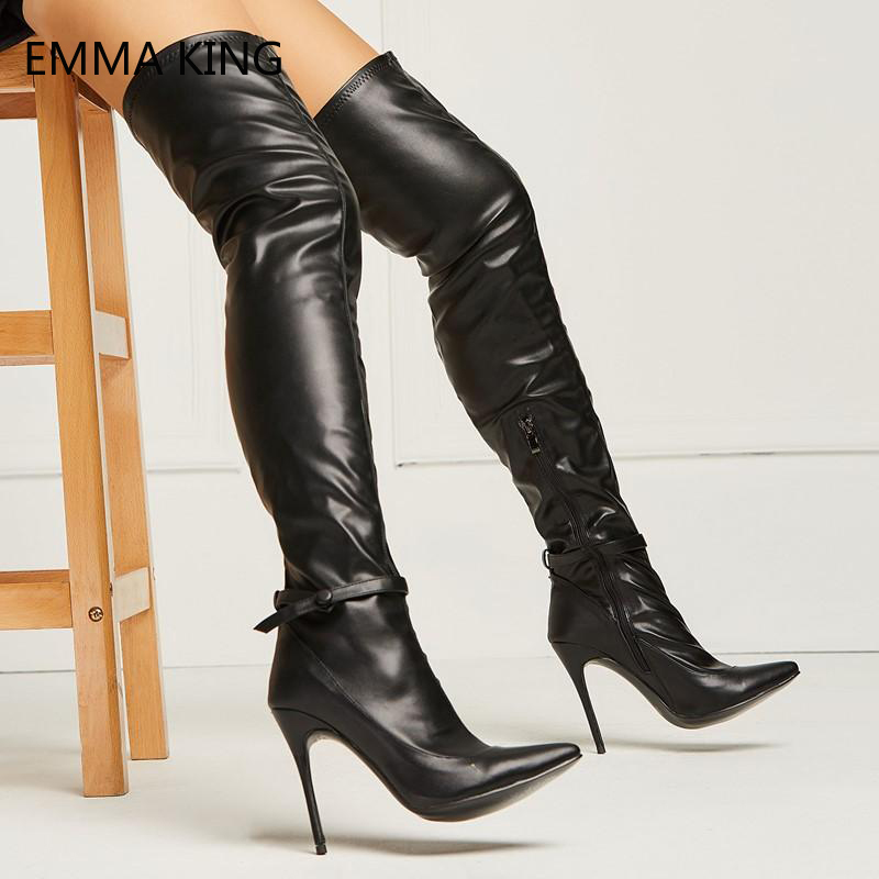 Sexy Black Leather Thigh High Boots Ladies Pointed Toe Over the Knee Stiletto Heels Ankle Strap Bow Zip Stretch Long Boots WomenSexy Black Leather Thigh High Boots Ladies Pointed Toe Over the Knee Stiletto Heels Ankle Strap Bow Zip Stretch Long Boots Women