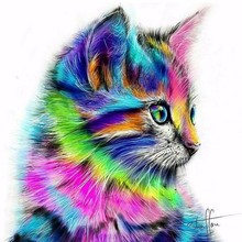 Colorful Cat New 100% Regional Highlights Diamond Needle  3D Embroidered