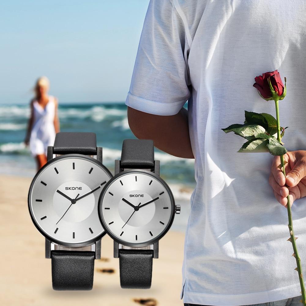 SKONE 2018 Quartz Couple Watch Waterproof PU Leather Lovers