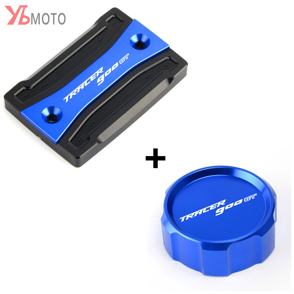 Marcas Top Azul Fluido de freio Da Motocicleta CNC Dianteiro & Traseiro Cilindro Mestre Reservoir Cap Capa Para Yamaha TRACER 900 GT 2018 2019