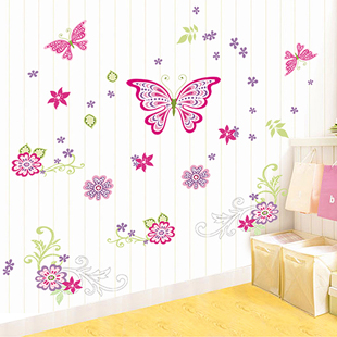 Color Cartoon Butterfly Floral Wall Stickers Kids Room