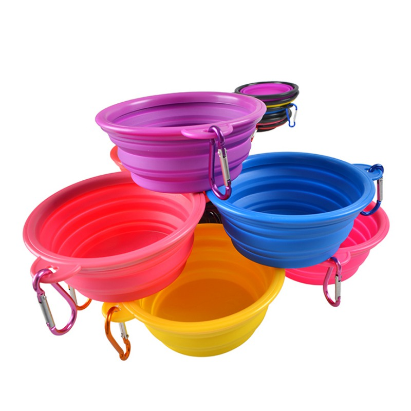 Dog Bowl, Dog Cat Pet Travel Bowl Silikone Foldbare Foder Vand Skål - Pet produkter - Foto 2