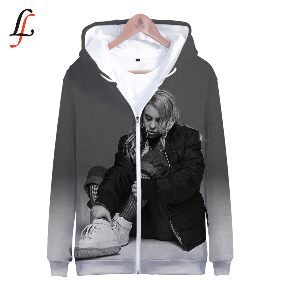 Billie Eilish Harajuku 3D Zipper Hoodies 2019 Modis K Pop Sweatshirt Bangtan Boys Female Fans Hoodies Women/men Zipper Casual
