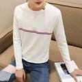 Tshirt longo Da Luva Dos Homens 2016 Novo Em Torno Do Pescoço Slim Fit Homens Camisa de T Dos Homens de luxo Plus Size 5XL Moda Listrado T-shirt Dos Homens maré