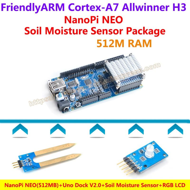 NanoPi NEO(512M)+Uno Dock V2.0+Heat sink+Soil Moisture Sensor+RGB LCD Module=NanoPi NEO Soil Moisture Sensor Package B