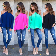 Fashion  Summer Women T shirt Long Sleeve Sexy Cold Shoulder Sling Halter Chiffon Solid Slim Casual Tops 2019 tunic korean style cold shoulder flower print tunic t shirt