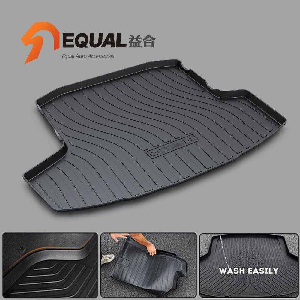 Cargo Liner Trunk Mats for SKODA OCTAVIA FABIA YETI SUPERB BOOT LINER REAR TRUNK CARGO MATS TRAY CARPET MUD COVER PROTECTOR TPO custom fit car trunk mats for nissan x trail fuga cefiro patrol y60 y61 p61 2008 2017 boot liner rear trunk cargo tray mats