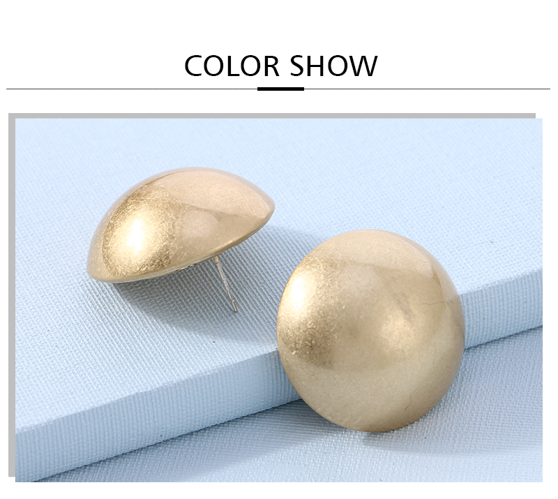 HTB1SXtcaizxK1Rjy1zkq6yHrVXaF - Badu Frosted Gold Semi-Ball Stud Earring for Women Vintage Fashion Jewelry Big and Small Different Size Earring