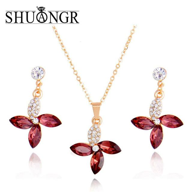 SHUANGR New Elegant Wedding Jewelry Sets Gold Pomegranate red