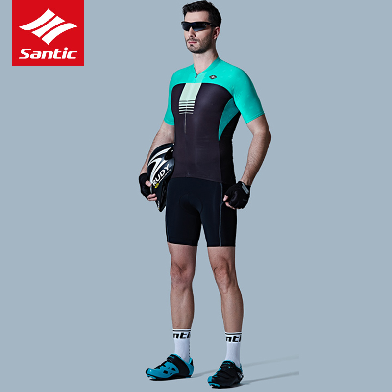 Santic Cycling Jersey Set Men Cycling Clothing with Pad Summer Breathable MTB Suit Bicycle Tops Bike Shirt Clothes Ropa Ciclismo 12d pad cycling jersey set bike clothing summer breathable bicycle jerseys clothes maillot ropa ciclismo cycling set