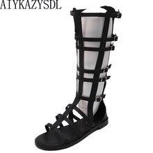 AIYKAZYSDL с вырезами для Для женщин Гладиатор Босоножки в римском стиле ботинки до середины икры высокие ботинки; летние плоская подошва Повседневное пляжная обувь, сандалии