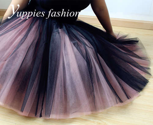 9 Layers 55cm Long Womens Tulle Skirt Two Tone Adult Tutu Celebrity Skirts Ball Gown Faldas
