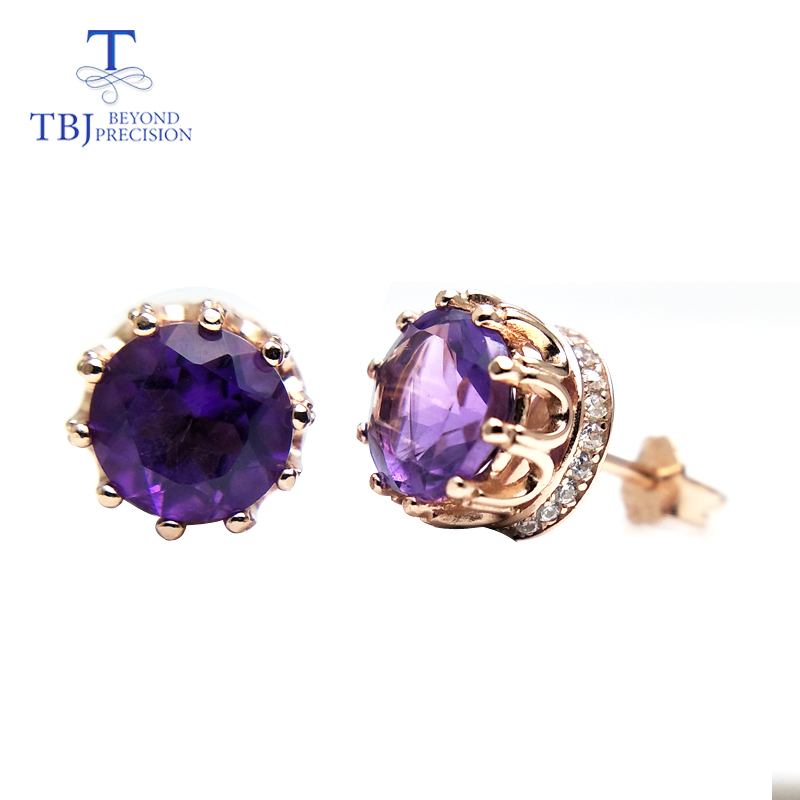TBJ,new design natural amethyst gemstone earring for girls daughter women gift 925 sterling silver shiny fine jewelry with box