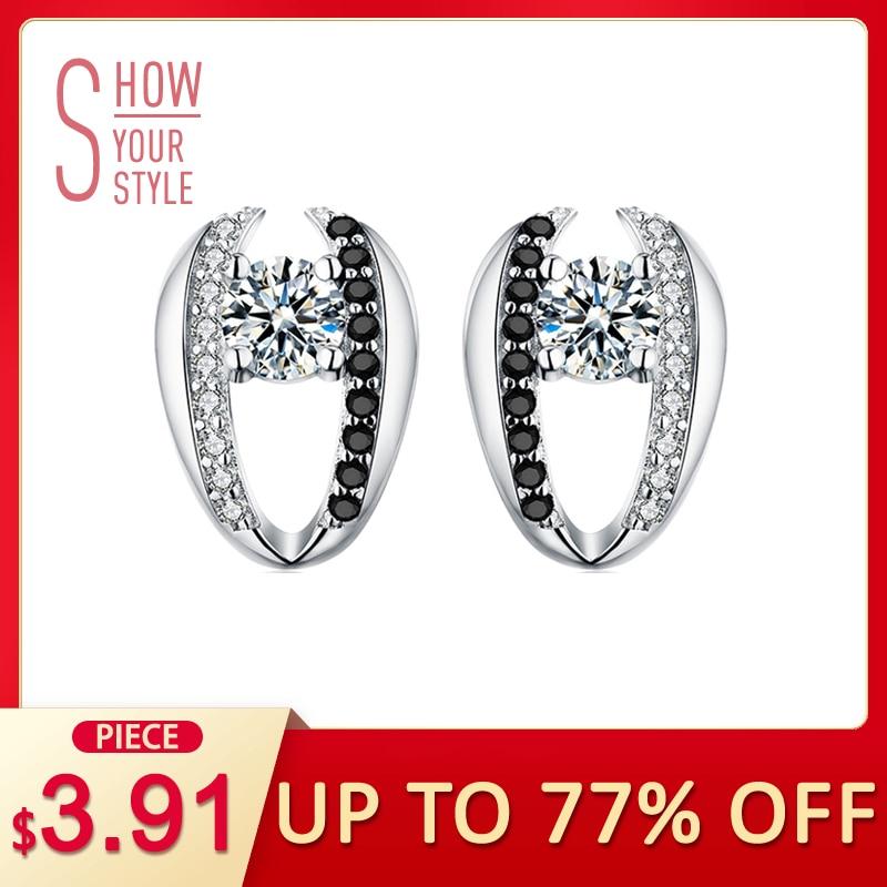 Angemessen [schwarz Granne] Echte 925 Sterling Silber Schmuck Nette Engagement Stud Ohrringe Für Frauen T072