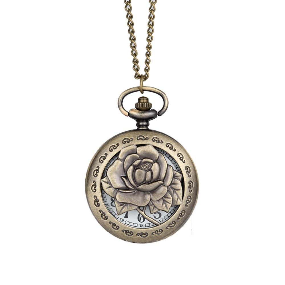 Vintage Antique Rose Flower Quartz Pocket Watch Necklace Pendant Chain Clock Women Men Birthday Gifts LXH