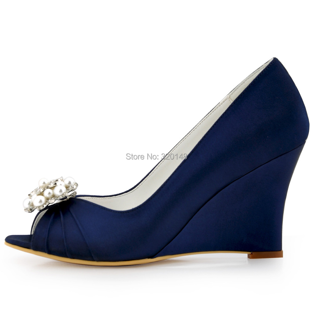 Women Wedges Peep Toe High Heel Navy Blue Ivory Pearls Clips Satin Bride  Lady Bridesmaid Wedding Bridal Shoes Prom Pumps WP1549  In Womenu0027s Pumps  From Shoes ...