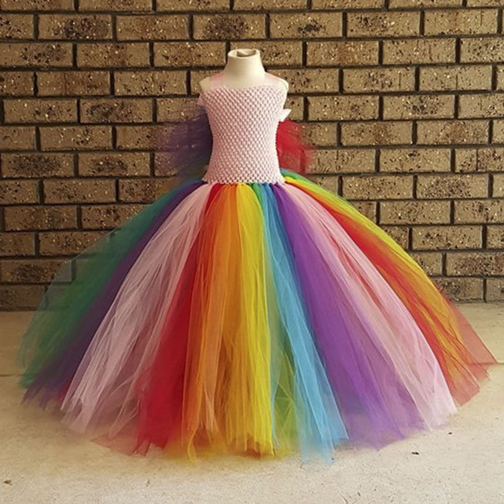 цена Fluffy Rainbow Girls Dress Tulle Wings Colorful Girl Tutu Inspired costume Rainbow Birthday party Kids Dress for Girls PT235