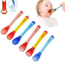 Baby Temperature Sensing Spoon and Fork Safety Silicone Feeding Flatware Spoon+Fork Feeder Utensils Feeding Tableware(China)