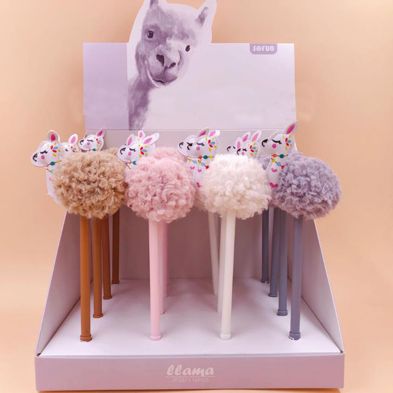 2 Pcs/set Kawaii 0.5mm Animal Llama Alpaca Hair Ball Plush Gel Pens Black Ink Signature Pen Gift Korean Stationery Supply