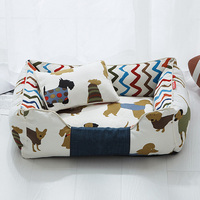 Detachable Dog Bed Mats Soft Print Pet House Dog Cushion Pads Breathable Lounger Sofa Kennels for Small Medium Dogs Pet Supplies