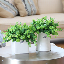 Creative Artificial Potted plants set Simulation clover flowers green grass Small bonsai gardening pot culture office Home Decor