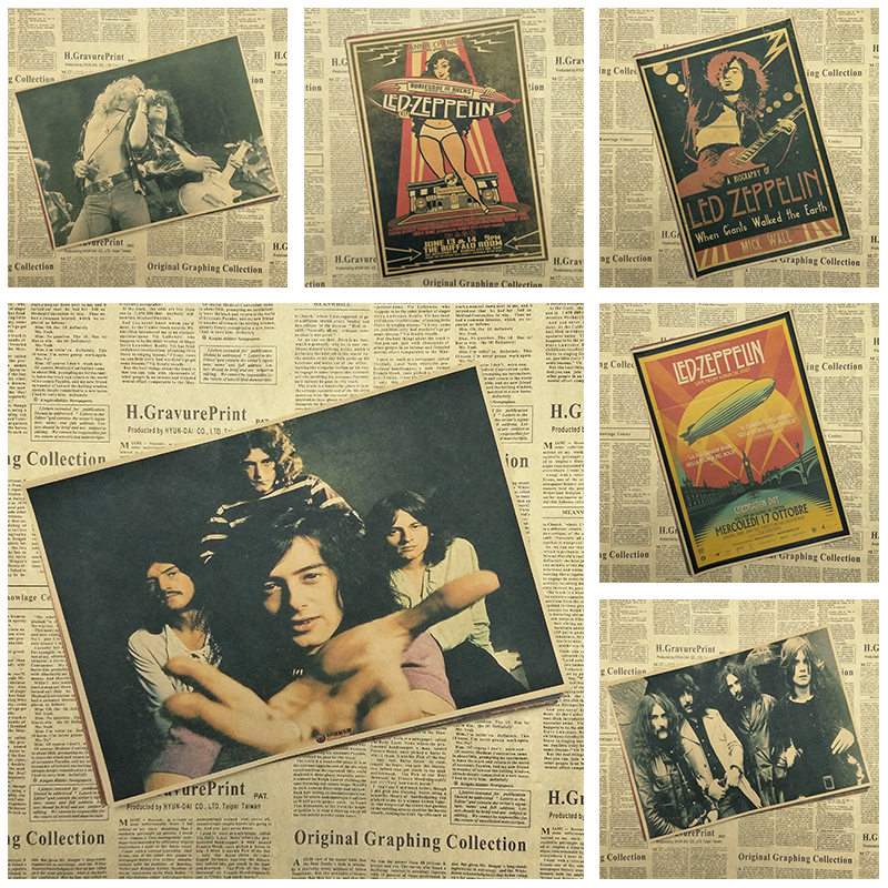 Vintage Poster Led Zeppelin kraft paper retro rock poster classic old band retro poster