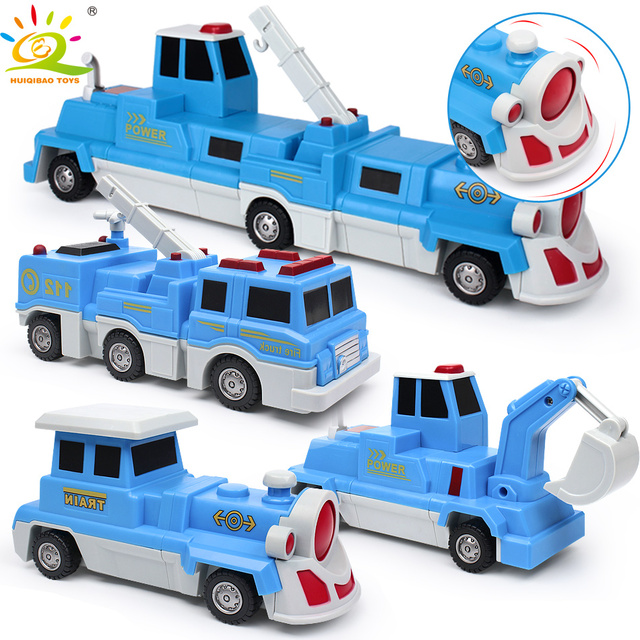 HUIQIBAO TOYS 3pcs Magnetic Engineer Lifting vehicles Building Blocks For Children Construction Educational Toys innovation game