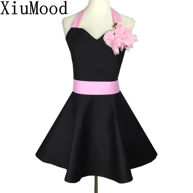 XiuMood Fashion Pink And Black Lace Swan Cotton Womens Kitchen Apron Dress  With Pocket