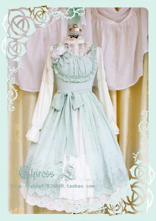 Joli Costume Lolita Lolita Style jardin joli imprimé Lolita JSK bleu