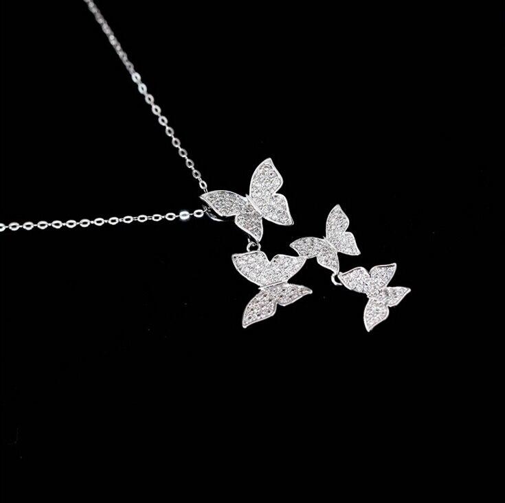 New 925 Sterling Silver Jewelry AAA Zircon CZ Diamond Wedding Choker Necklace Women Multiple Butterfly Necklaces