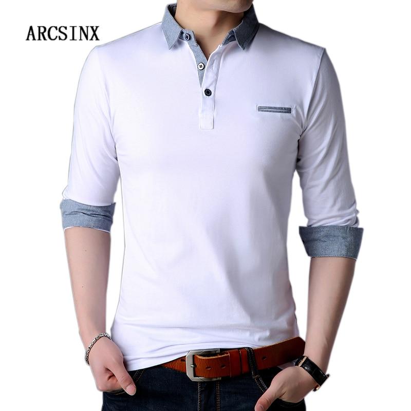 ARCSINX White Polo Shirt Men Autumn Long Sleeve Mens Polo Shirts Brands Spring Cotton Plus Size 5XL 4XL Fashion Shirt Polo Male