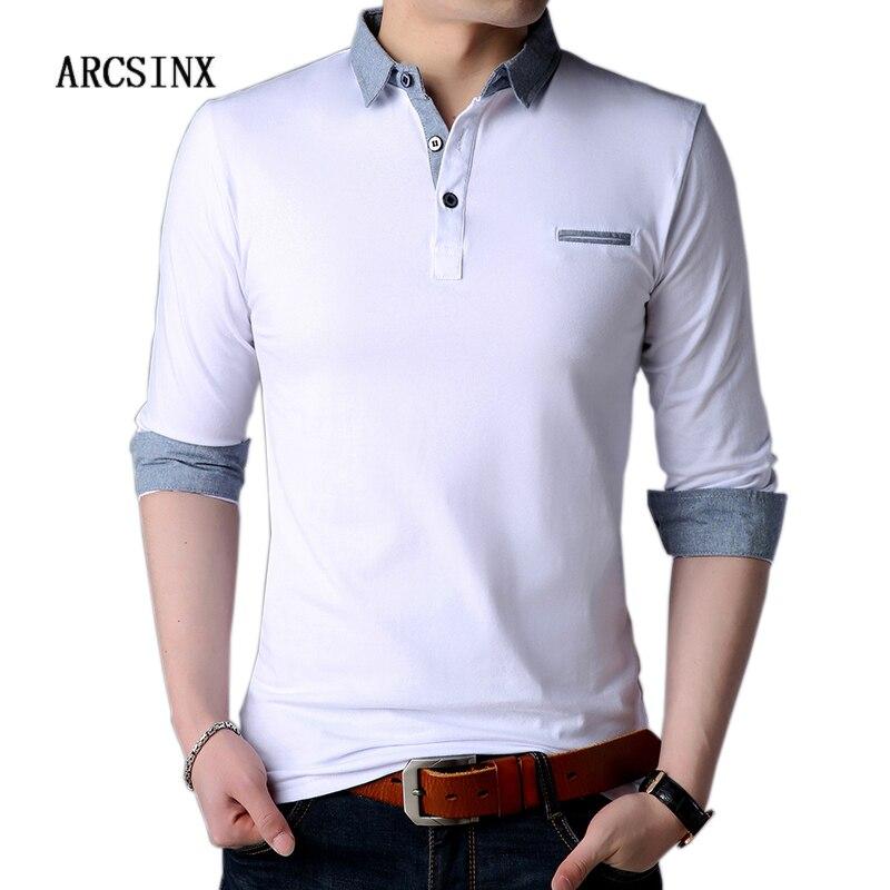 7aed77d6c6d5 Агсзш белая рубашка-поло Для мужчин осень с длинным рукавом Для мужчин  рубашки ...