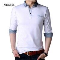 Агсзш белая рубашка-поло Для мужчин осень с длинным рукавом Для мужчин рубашки поло бренды весна хлопок плюс Размеры 5XL 4XL Мода рубашка поло ...