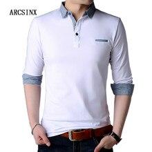 b8aa72d261 ARCSINX Branco Polo Homens Da Camisa do Outono Primavera de Algodão de  Manga Longa Mens Camisas Pólo Marcas Plus Size 5XL 4XL Mo.