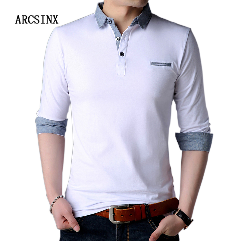ARCSINX White   Polo   Shirt Men Autumn Long Sleeve Mens   Polo   Shirts Brands Spring Cotton Plus Size 5XL 4XL Fashion Shirt   Polo   Male