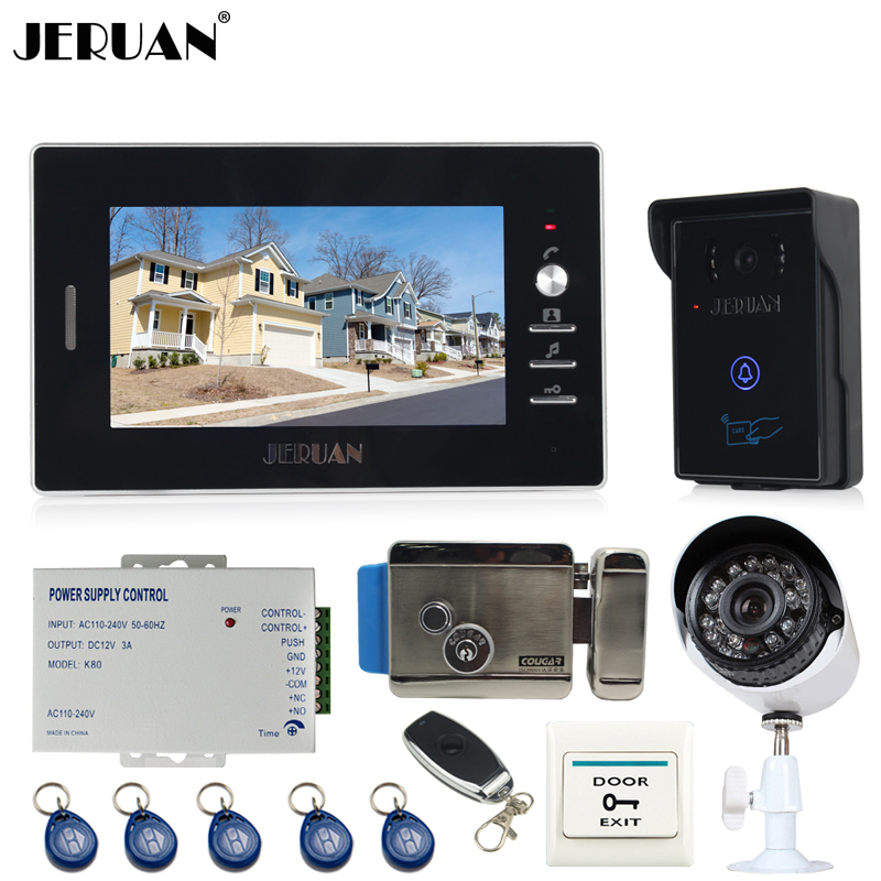 JERUAN 7`` Video door Phone Entry Intercom System kit touch key RFID Access IR Camera + Analog Night vision Camera +E-lock jeruan 7 video door phone record intercom system 3 monitors 700tvl rfid access ir night vision camera electric drop bolt lock