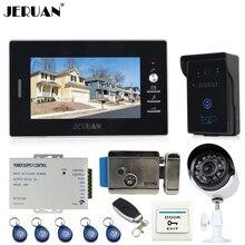 "JERUAN 7"" Video door Phone Entry Intercom System kit touch key RFID Access IR Camera + Analog Night vision Camera +E-lock"