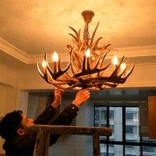 цена на Nordic Candle Antler LED Chandelier American Retro Resin Deer Horn LED Pendant Lamps Home Decoration Lighting Kitchen Fixtures
