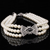 Choker Necklace Jewelry For Women Vintage Elegant Bride Jewelry White Black Pearl Bead Rhinestone Brand Accessories