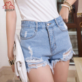 2015 Fashion Hole Irregular Whisker Short Jeans High Waist Washed Tassel Denim Shorts Female Ripped Cowboy Shorts Women White