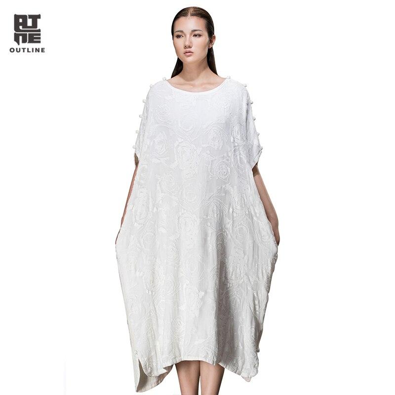 Outline Summer Woman Dress White Retro O Neck Short Sleeve Loose Cotton Dress Silk Casual Plus