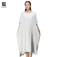 Outline Summer Woman Dress White Retro O-Neck Short Sleeve Loose Cotton Dress Silk Casual Plus Size Long Vestidos L143Y018
