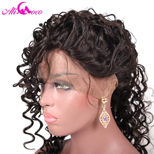 Ali Coco Brazilian Deep Wave Full Lace Human Hair Wigs with Baby Hair 8-24″ Natural Color