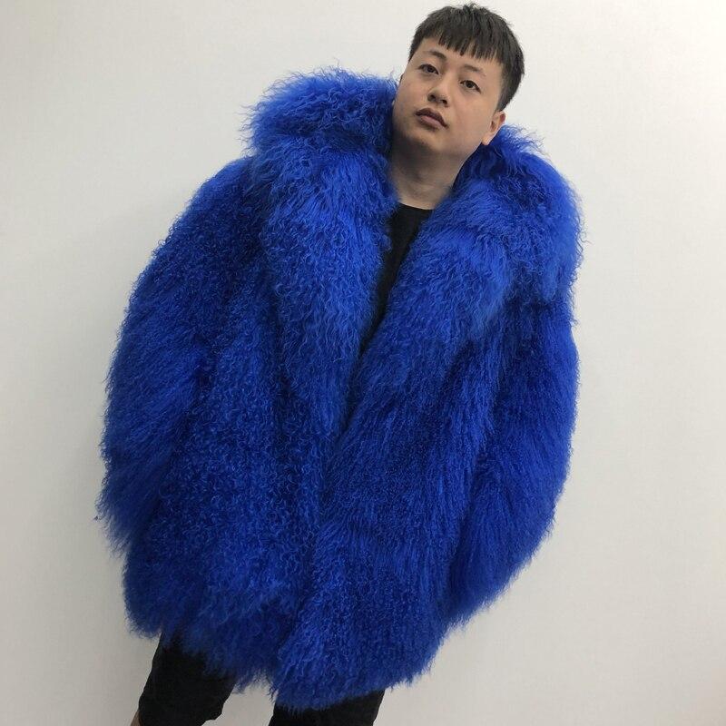 2019 Men's real mongolian sheep fur coat hooded warm winter outerwear lapel beach wool fur overcoat long sleeve Jacket